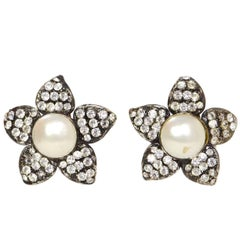 Chanel Vintage Crystal & Pearl Flower XL Clip On Earrings