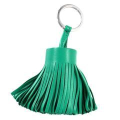 Hermes Green Leather Carmen Tassel Key Ring