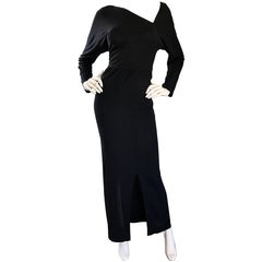 Halston 1970s Black Jersey Asymmetrical 70s Vintage Dolman Sleeve Sexy Gown