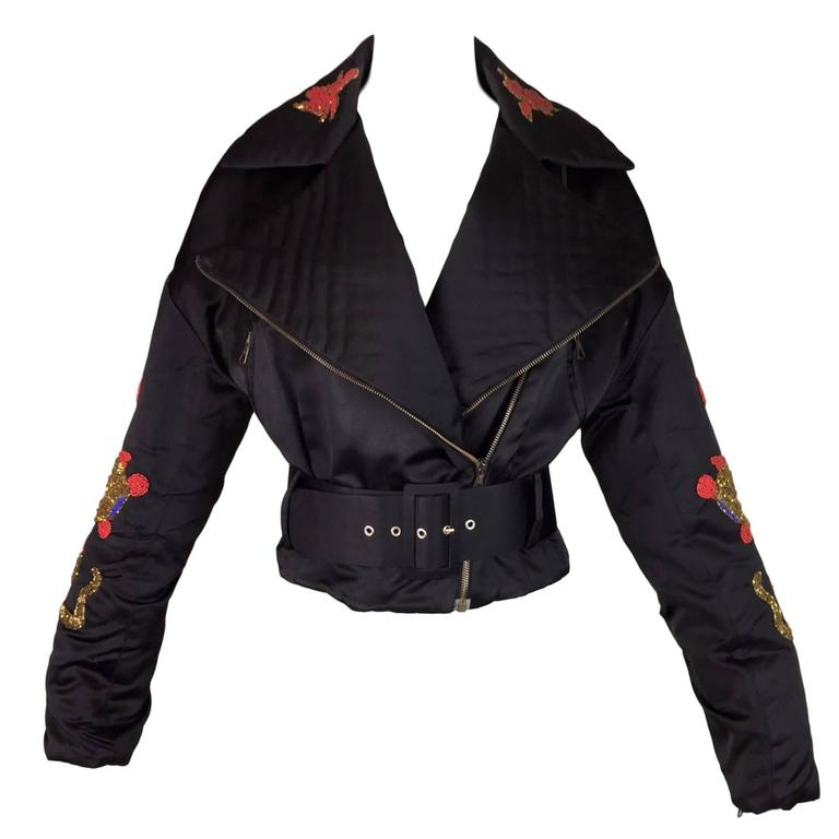 Documented F/W 1992 Dolce & Gabbana Dragon Tattoo Beaded Black Motorcycle Jacket