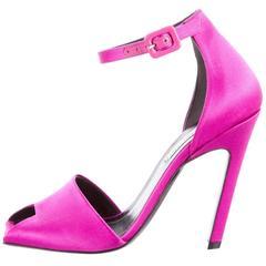 Balenciaga New Fuchsia Satin Evening Open Toe Pumps Sandals Heels