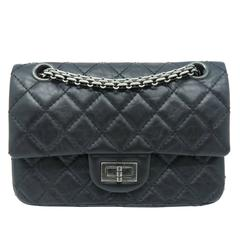 Chanel Black Quilting Calfskin Leather Silver Metal Flap Bag