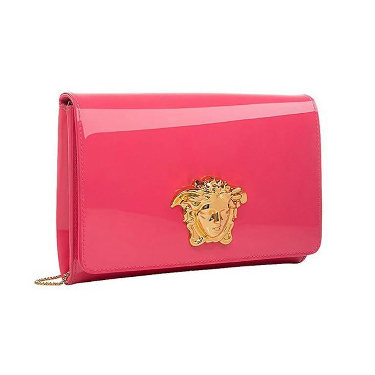 79740a9f6d5d New Versace Palazzo coral pink patent leather clutch bag with gold ...