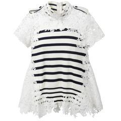 Sacai Striped Cotton & Guipure Lace Peplum Top Sz 2