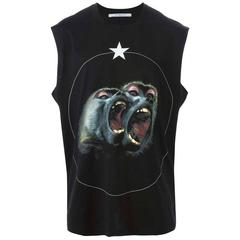 Givenchy MEN'S Black Monkey Brothers Print Tank Top sz XS
