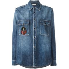 Saint Laurent NEW Military Patch Denim Shirt sz S