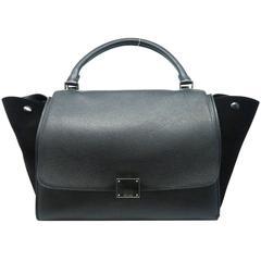 Celine Trapeze Black Calfskin Leather Suede Leather Satchel Bag