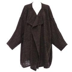 Issey Miyake Plantation Cotton Wool Nylon Woven Open Front Jacket, Circa 1980's