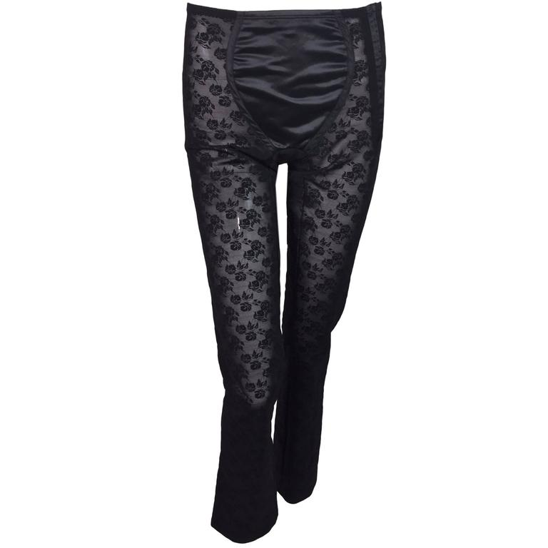 S/S 1998 Dolce & Gabbana Sheer Black Lace Corset Bandage Leggings  For Sale