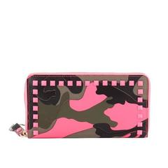 Valentino Rockstud Zip Around Wallet Camo Leather and Canvas