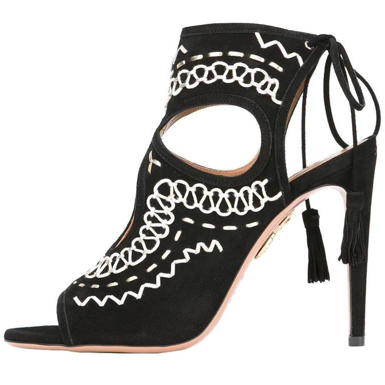 e3a02f6abb82 Aquazzura New Sold Out Black White SUEDE Cut Out Evening Sandals Heels in  Box For Sale