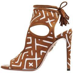 Aquazzura New Cognac Tribal Cashmere Suede Cut Out Lace Up Sandals Heels in Box