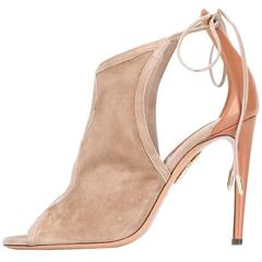 Aquazzura New Sold Out Nude Suede Leather Tie Up Sandals Heels in Box