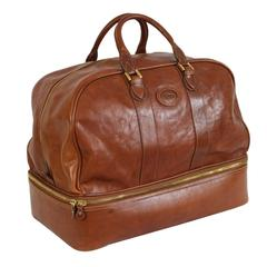 Arfango soft leather brown duffle bag luggage 1990s made italy original case