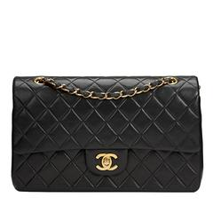 2000s Chanel Black Quilted Lambskin Medium Classic Double Flap Bag