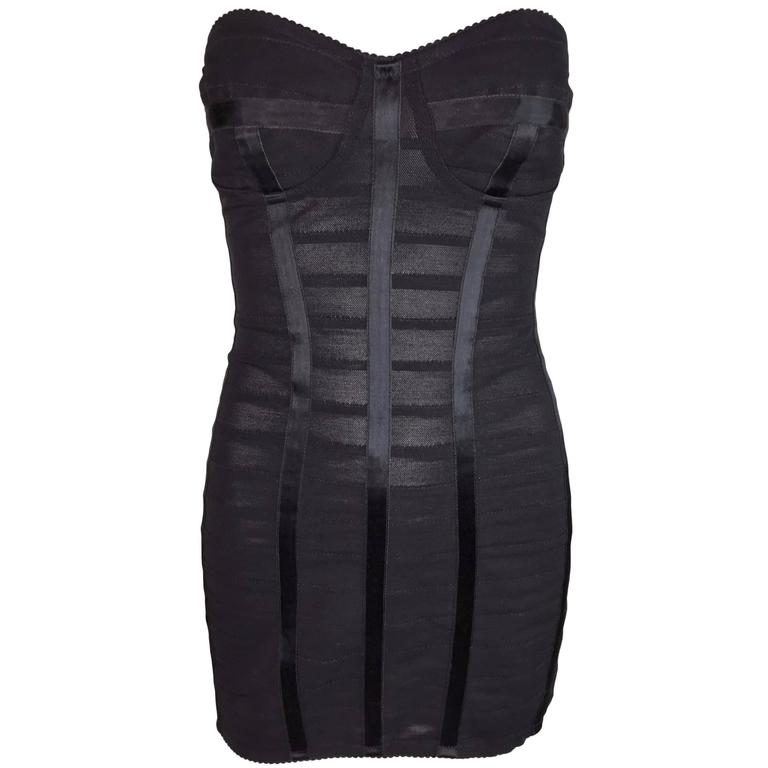 Dolce & Gabbana Sheer Strapless Bandage Corset Mini Dress 38