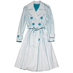 Marc Jacobs Blue and White Distressed Leather Trench Coat Sz 4