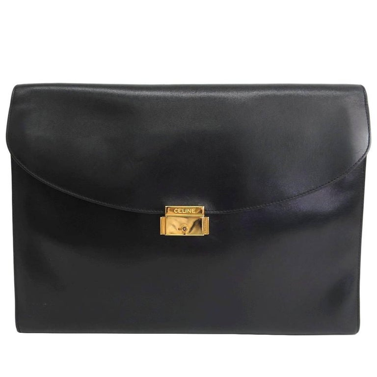 Celine Black Leather Gold Hardware Large Envelope Clutch Carryall Flap Bag