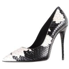 Giuseppe Zanotti New Black White Two Tone Snake Effect High Heels Pumps