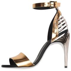 Fendi New Sold Out Gold Silver Metallic Leather Sandals Heels in Box