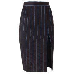 Chantal Thomass 1980's NWT Black Pinstripe Pencil Skirt
