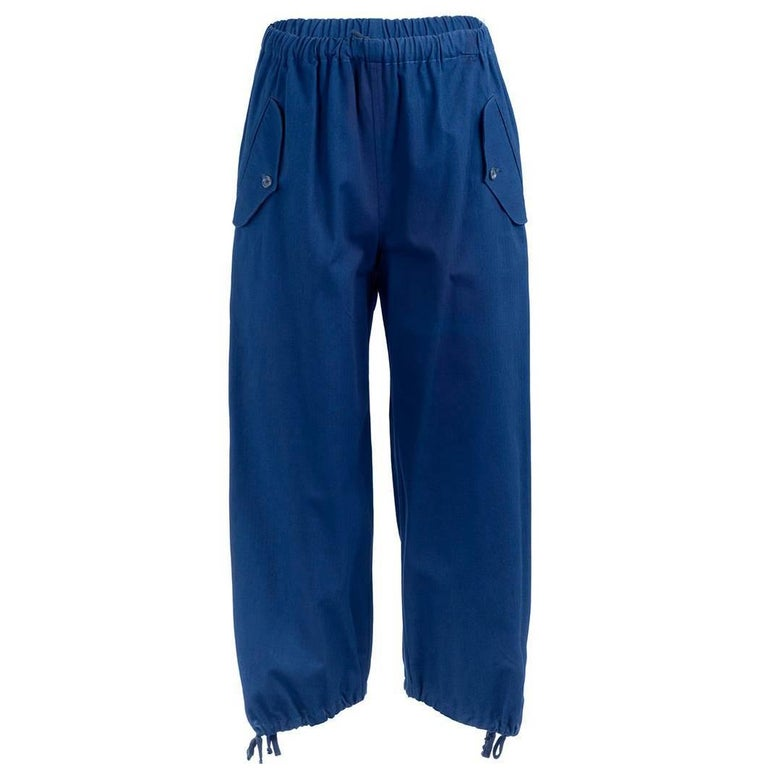 1990's Comme Des Garçons Blue Cotton Drawstring Pants