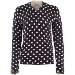 20th Century NWT Comme Des Garçons Navy and White Polkadot Sweater