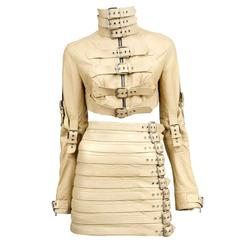 Stunning Dolce & Gabbana Bondage Buckle Leather Jacket Skirt Suit Ensemble