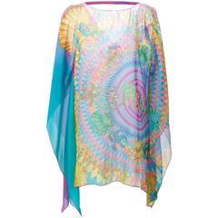 VERSACE sea world and digital barocco print silk tunic beach dress