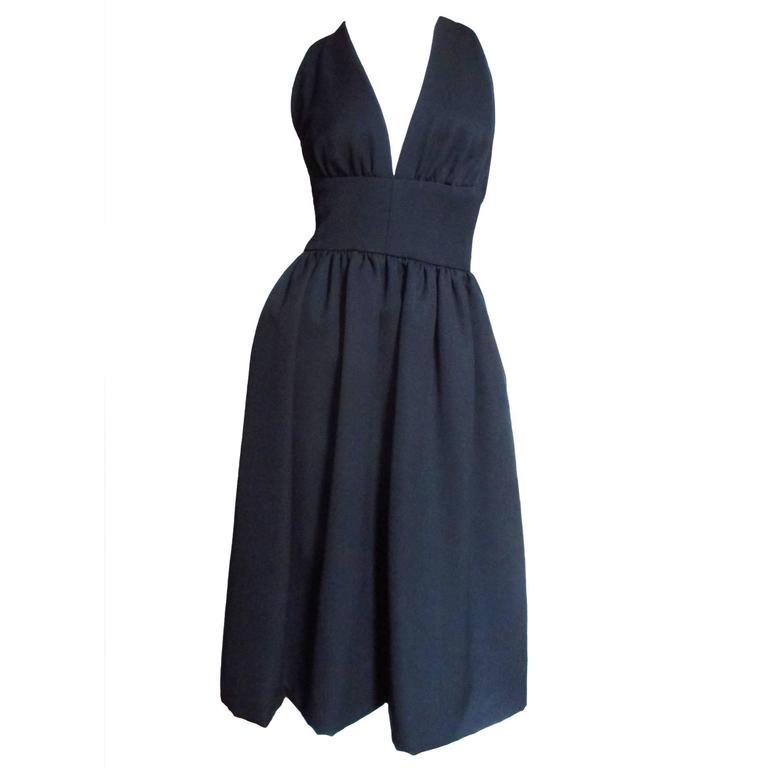 1970s Halston Silk Plunge Dress
