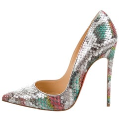 Christian Louboutin New Sold Out Python Snakeskin Silver Heels Pumps in Box