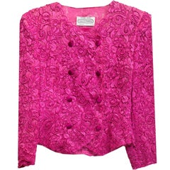 Carolina Herrera Pink Lace Double Breasted Jacket sz US4