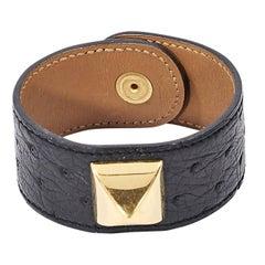 Black Hermès Courchevel Medor Bracelet