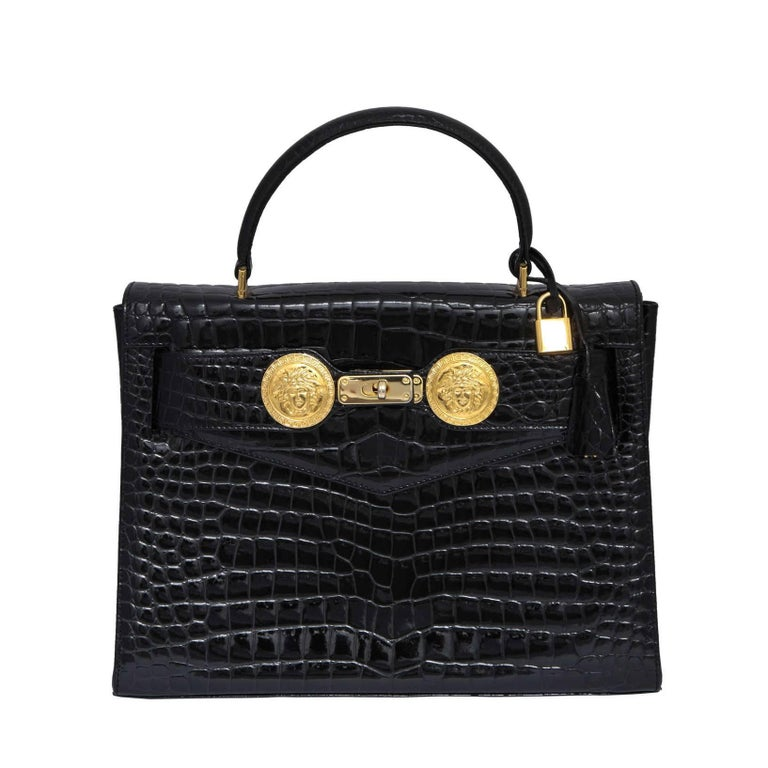 f9527890c0 Gianni Versace Croc Embossed Couture Bag With Medusas For Sale at ...