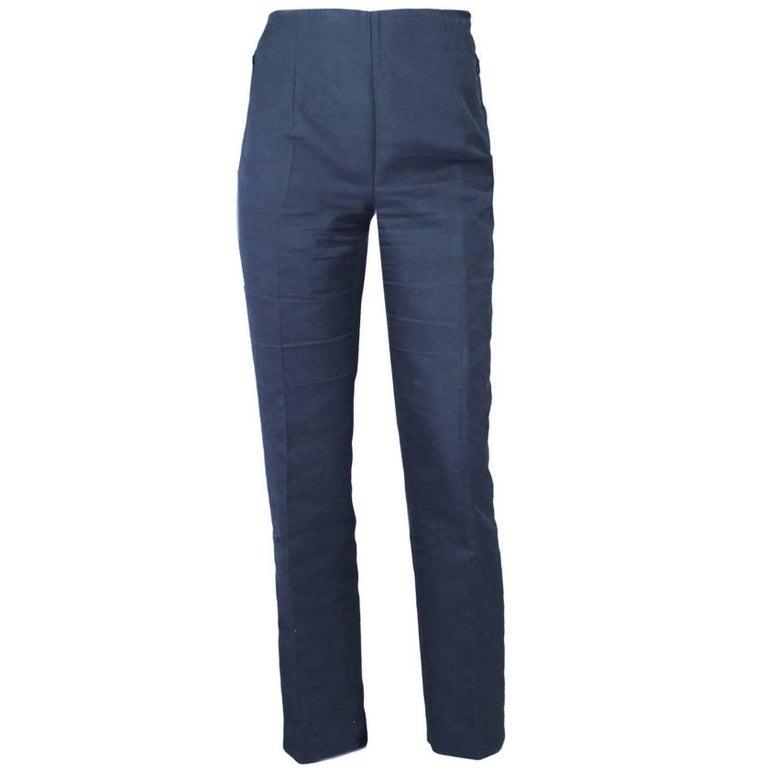 Akris Navy Cropped Pants Sz 10 For Sale