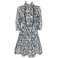 Prada 2016 Black & White Bold Print Stretch-cotton Poplin Dress