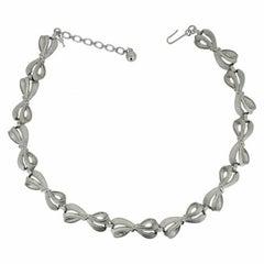 Trifari 1960s Vintage Silver Tone Bow Necklace