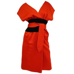 1980s Estevez Poppy Red Kimono-Inspired Satin Cocktail Dress