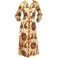 1970s Paisley Ikat Silk Beaded & Sequin Hostess Dress
