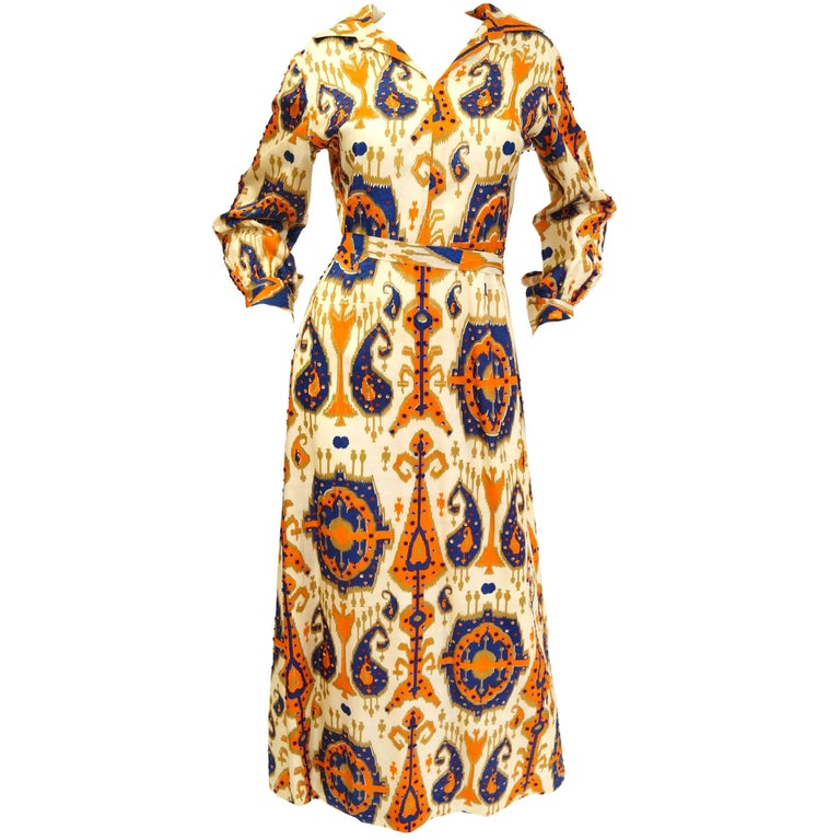 Paisley Ikat Silk Beaded and Sequin Hostess Dress, 1970s  For Sale