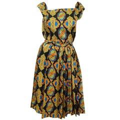 1970s Galanos Venetian Print Silk Skirt Suit