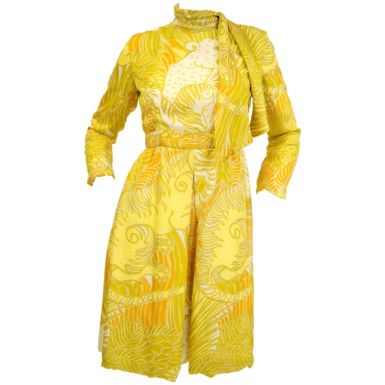 1960s George Halley Citrine Yellow Grinning Tiger Dress
