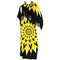 1960s Mr Dino Op Art Sun Burst Sheath Skirt and Fringe Shawl