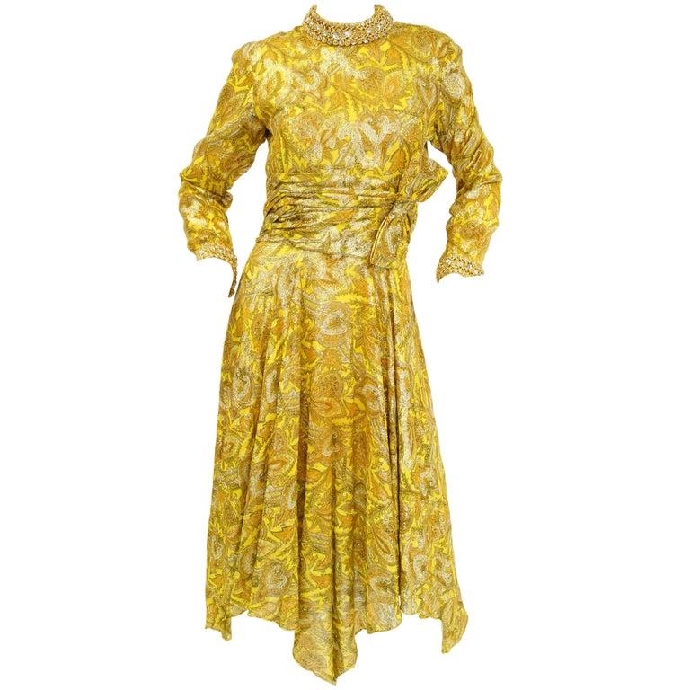 1960s Metallic Mod Dress w/ Rouching & Rhinestone Details