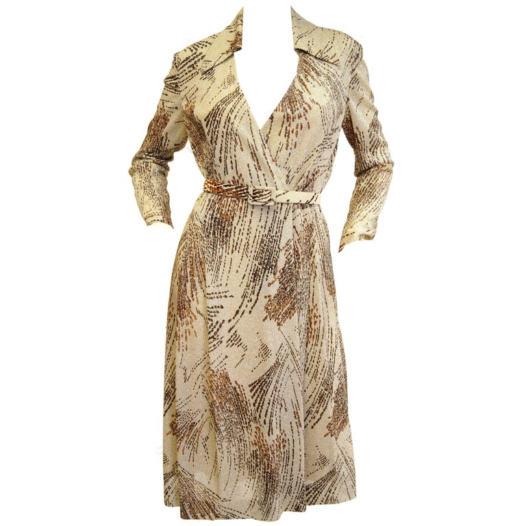 1970s Adele Simpson Metallic Star Trail Dress For Sale