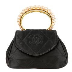 Chanel Vintage Pearl Handle Black Silk Evening  Bag