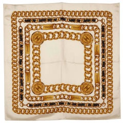 Chanel White Silk Chain Pattern Square Scarf