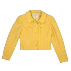 COLLECTOR CHANEL Short Yellow Jacket in Wool Size 40