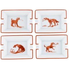 Hermes New Porcelain Home Desk Table Dog Motiff Ashtrays Trinket Trays in Box