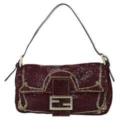 Red & Gold Fendi Sequined Baguette Bag